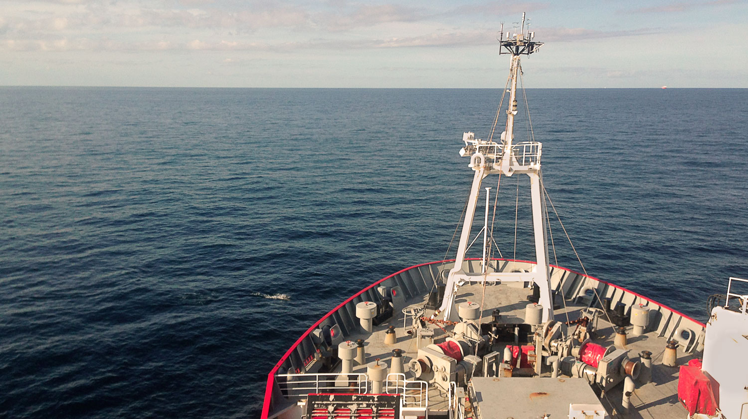 RRS James Clark Ross Bow and expanse of Ocean