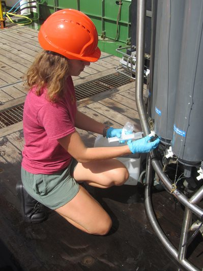 Ophelie taking samples from the CTD