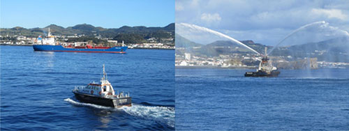 Pilot and tug going into the Azores